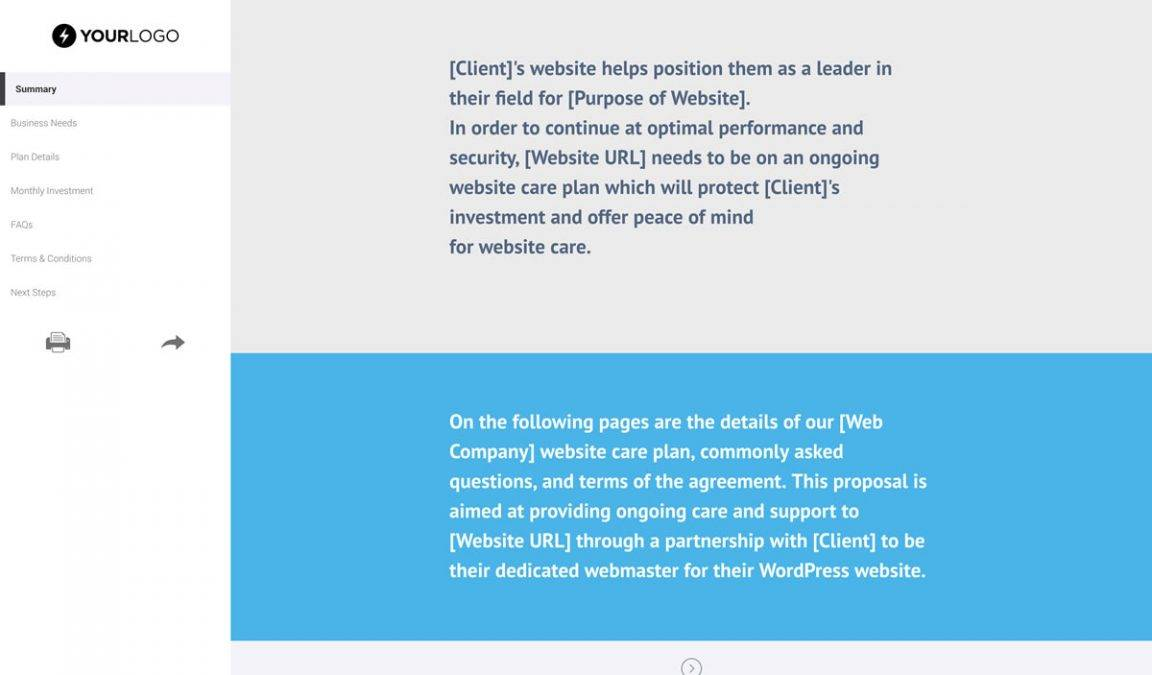 Website Proposal Sample WordPress