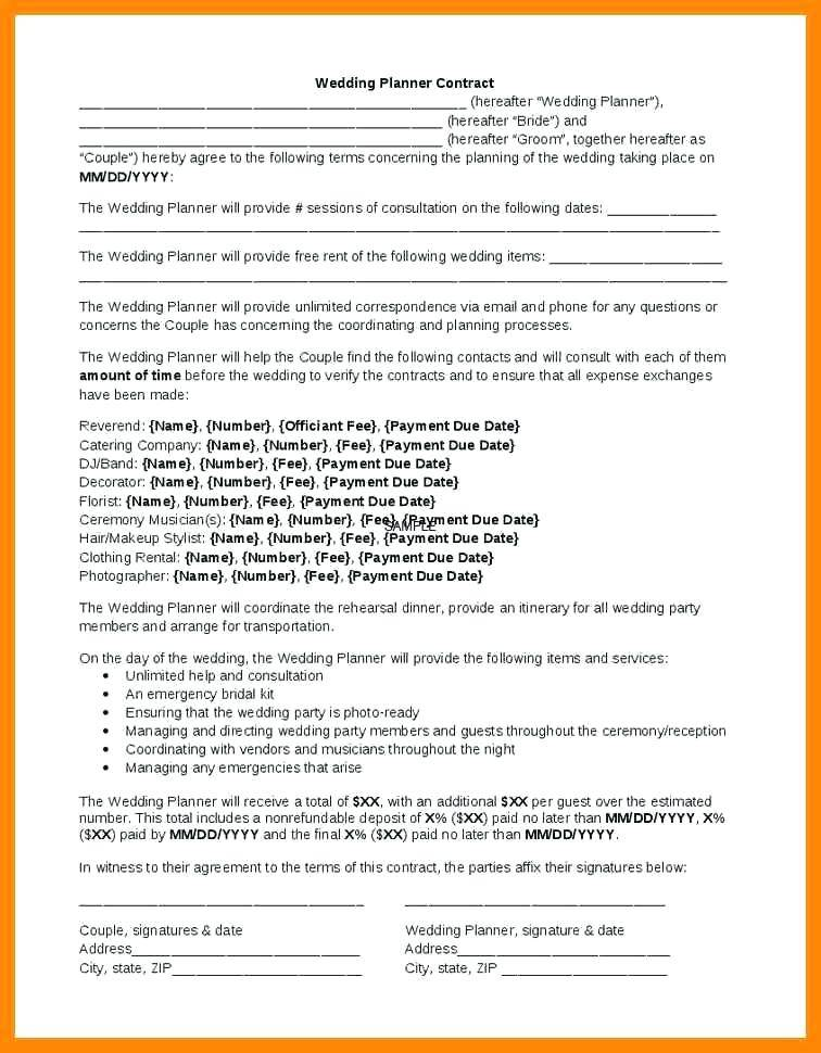 Wedding Band Contract Template Free