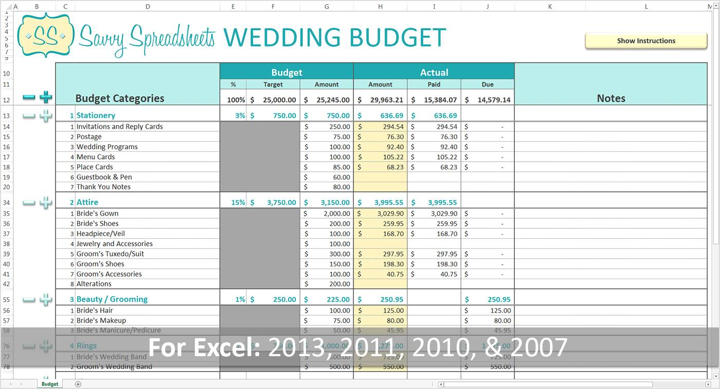 Wedding Budget Spreadsheet Template Free