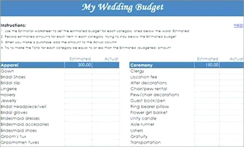 Wedding Budget Spreadsheet Templates