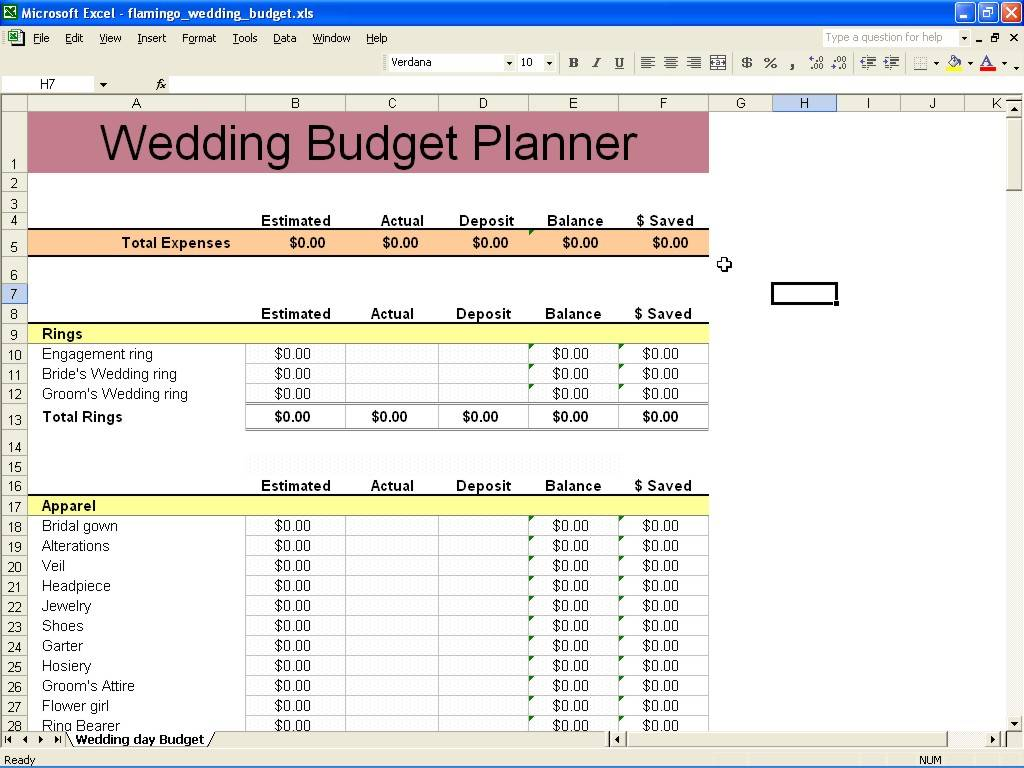 Wedding Budget Template Singapore