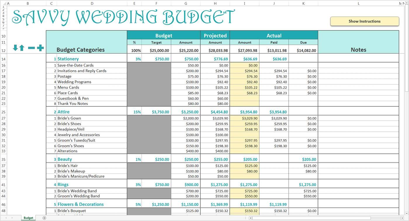 Wedding Budget Template Xls