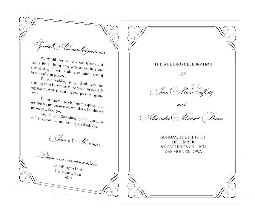 Wedding Bulletin Template Free