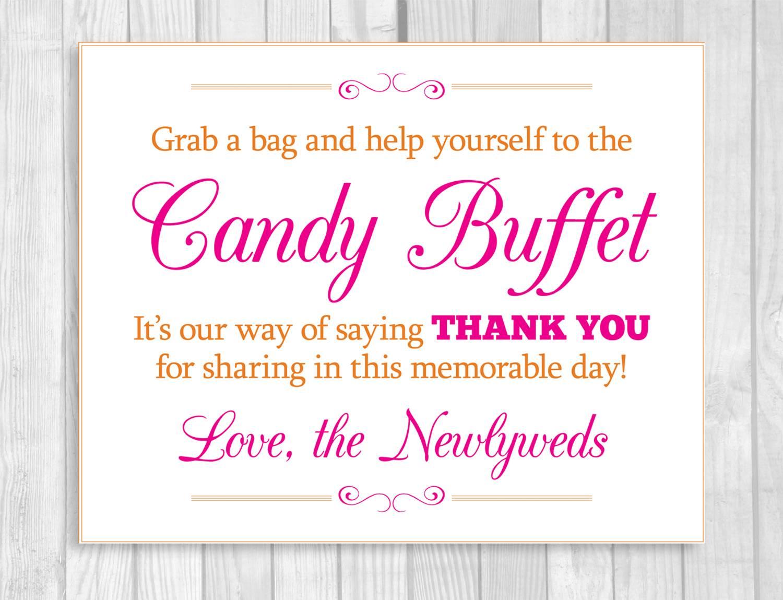 Wedding Candy Buffet Sign Template