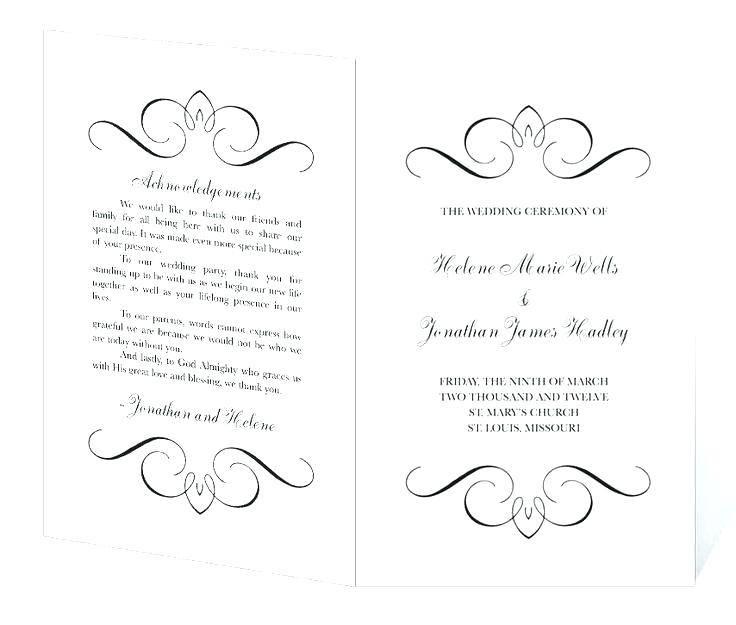Wedding Ceremony Booklet Templates