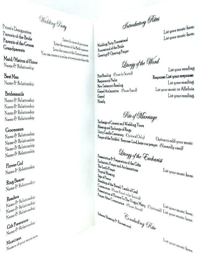 Wedding Ceremony Program Examples Christian