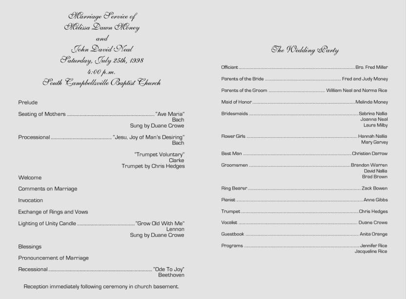 Wedding Ceremony Program Flow Sample
