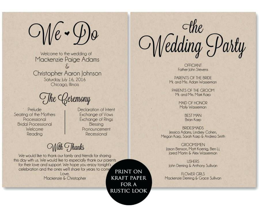 Wedding Ceremony Program Wording Thank You