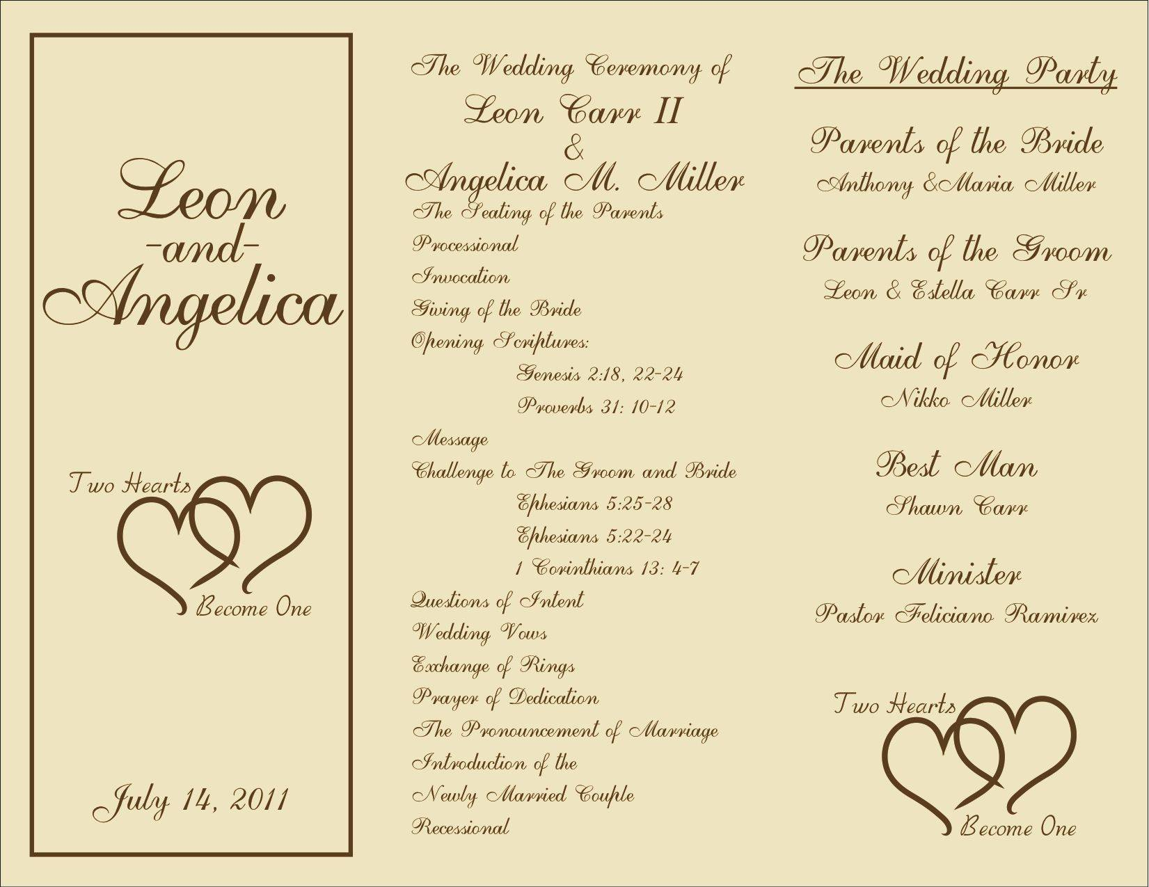 Wedding Ceremony Programs Templates Free