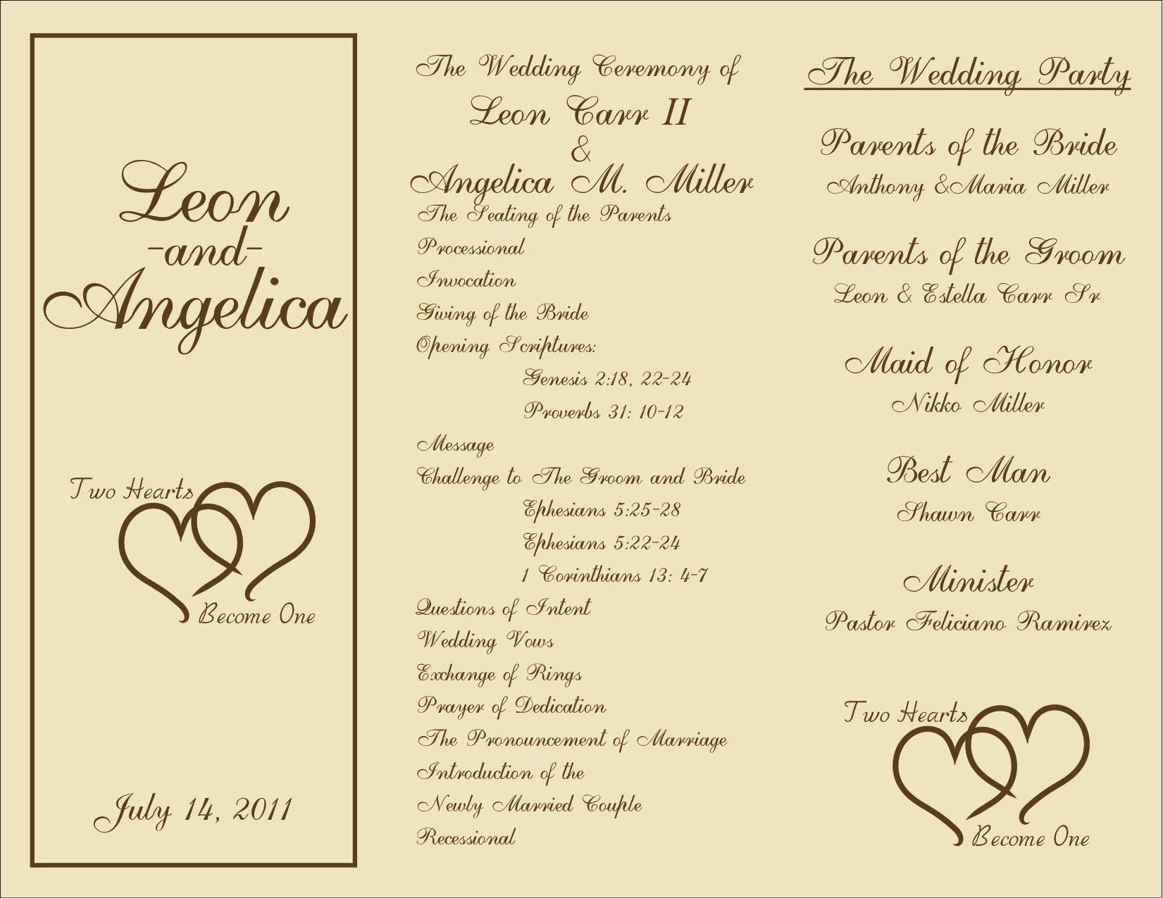 Wedding Ceremony Programs Templates