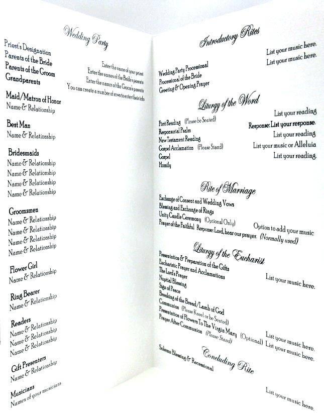 Wedding Church Bulletin Template
