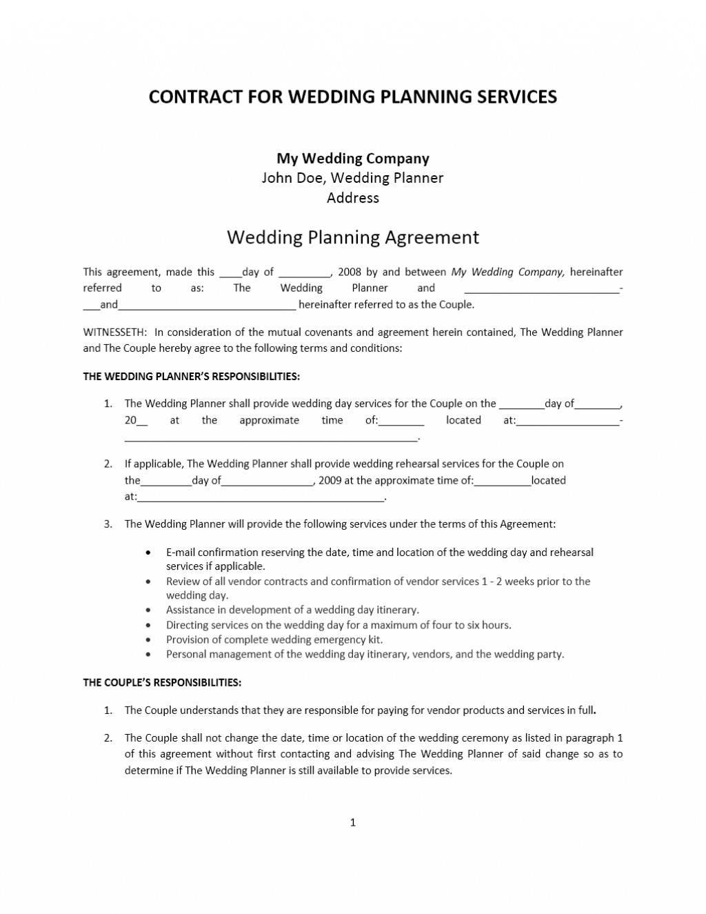 Wedding Coordinator Contract Template Uk