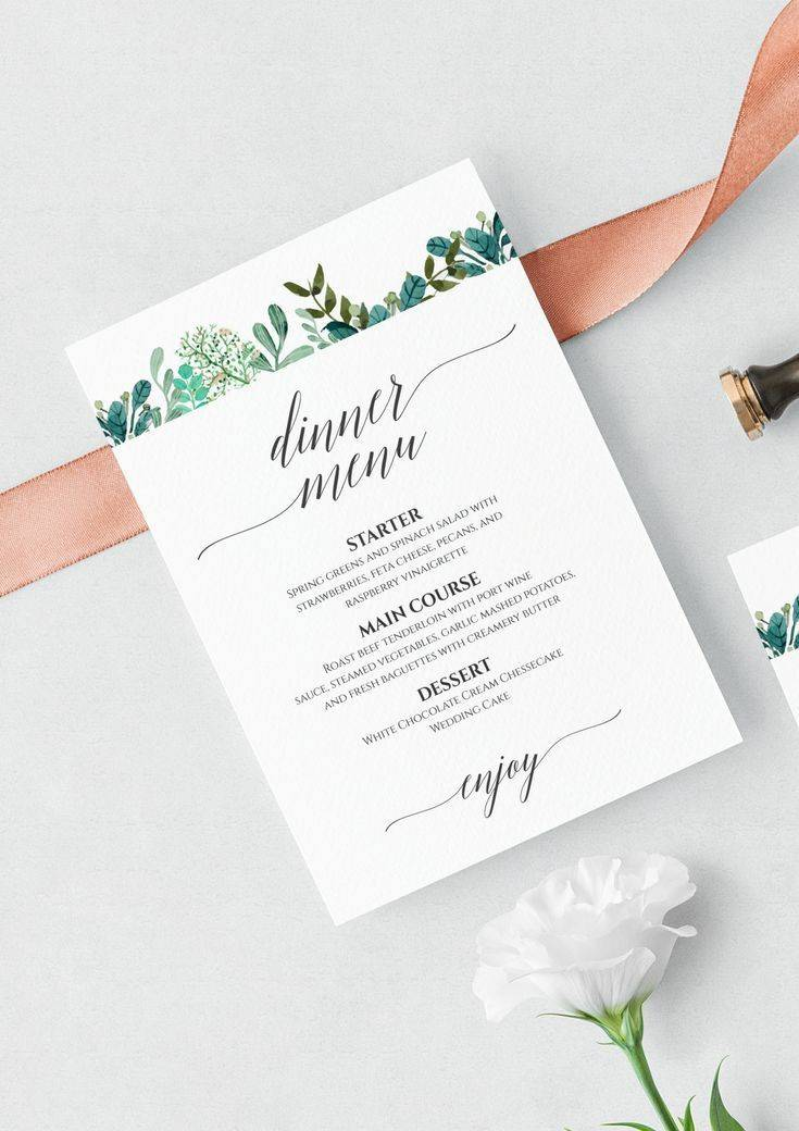 Wedding Dinner Menu Template Download