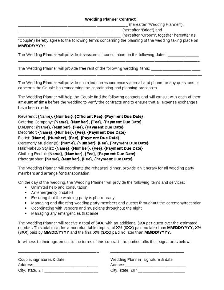 Wedding Event Planner Contract Template