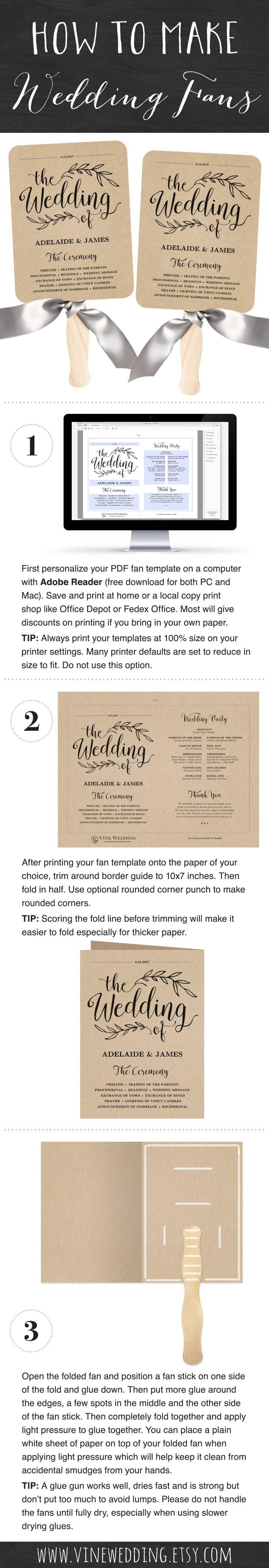Wedding Fan Program Template Diy