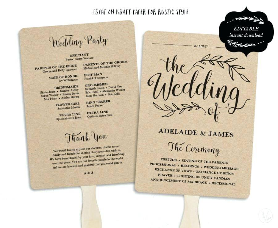 Wedding Fan Program Templates Free