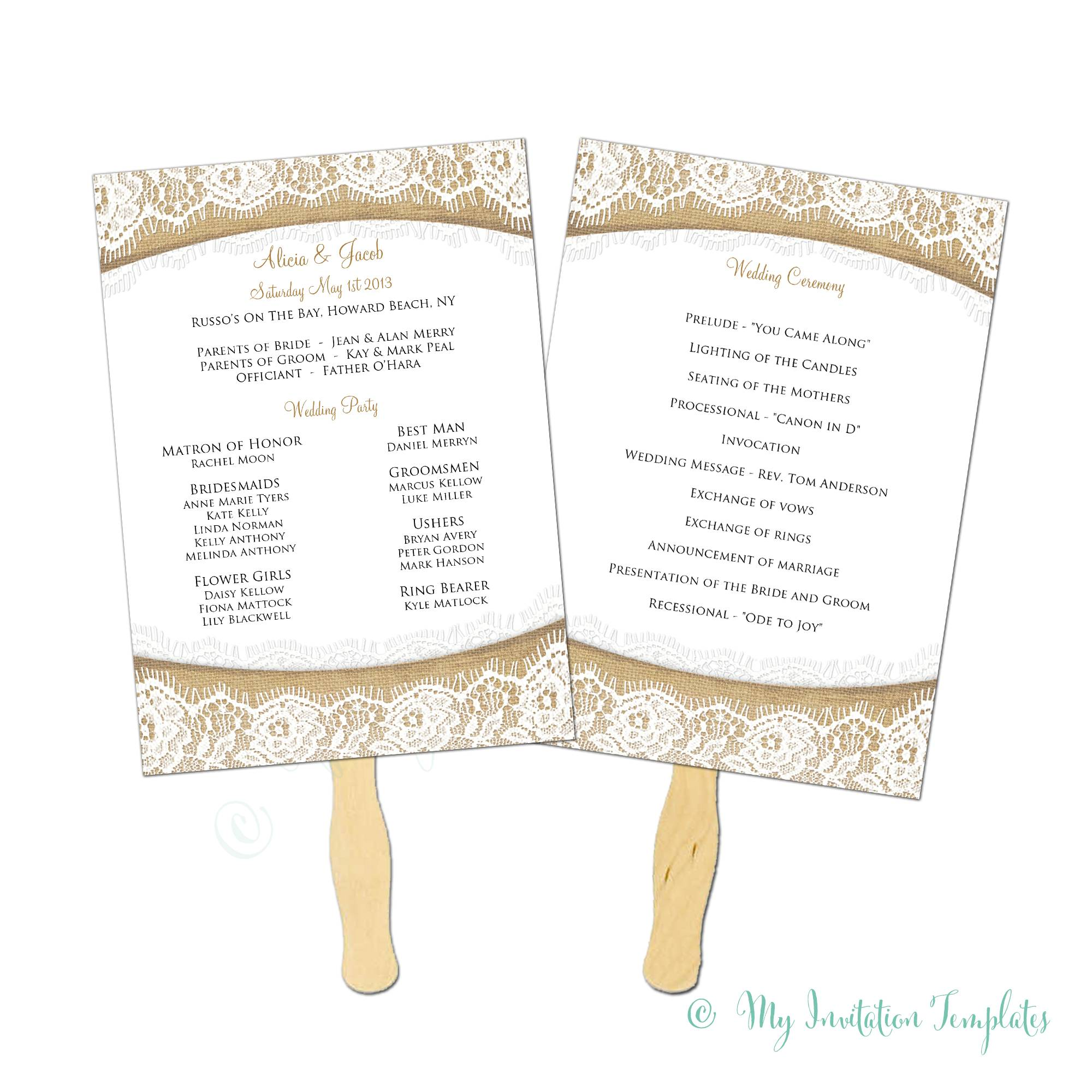 Wedding Fan Program Templates