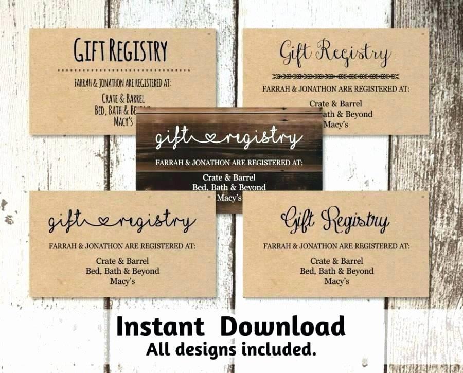Wedding Gift Registry Card Template