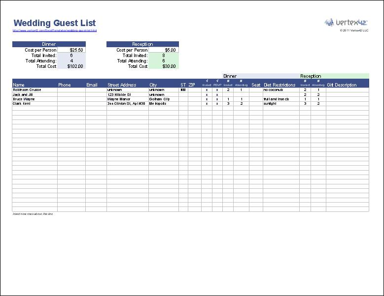 Wedding Guest List Template For Openoffice