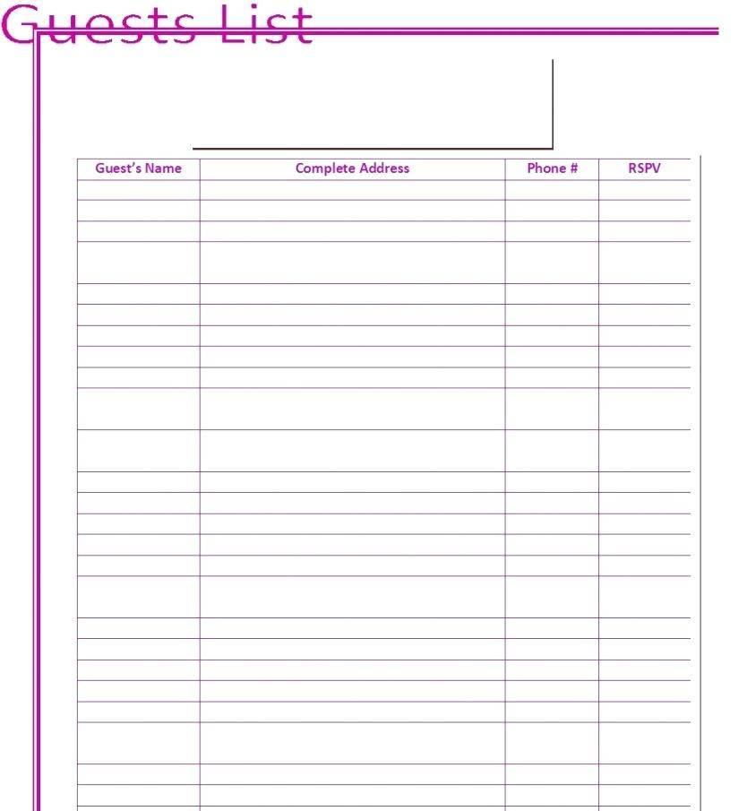 Wedding Guest List Template Google Docs