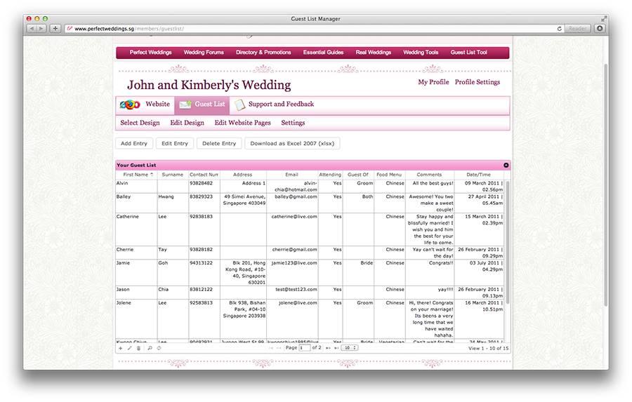 Wedding Guest List Template Singapore