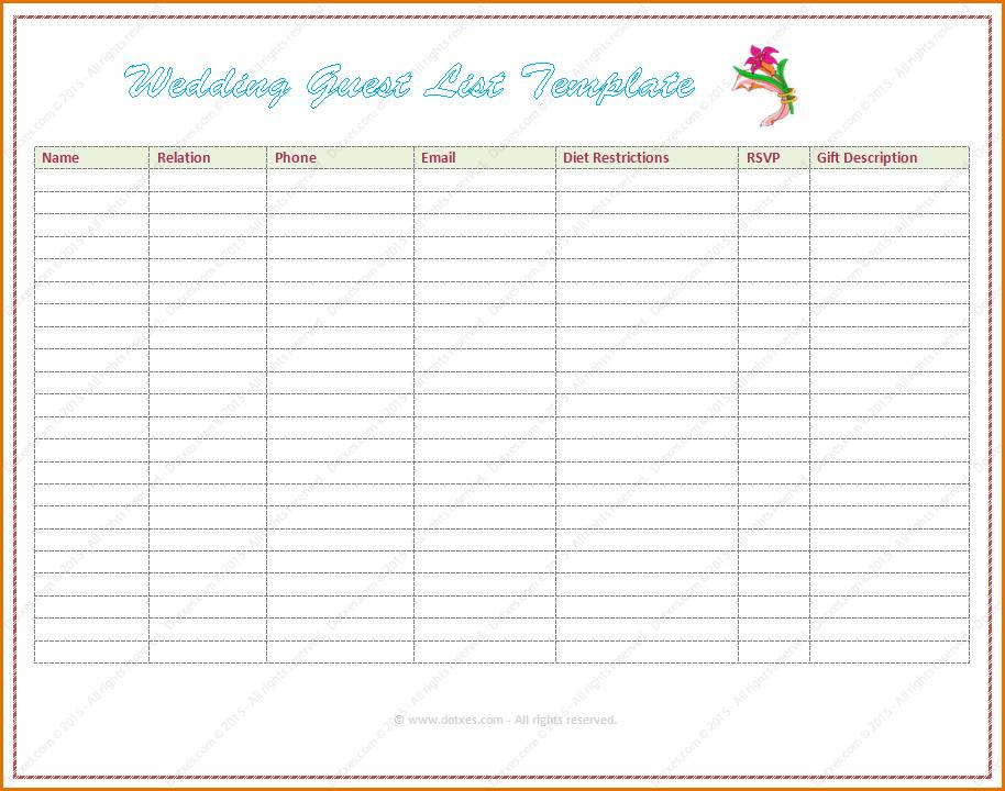 Wedding Guest List Template Word