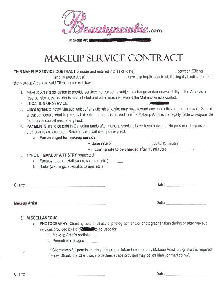 Wedding Hair Contract Templates