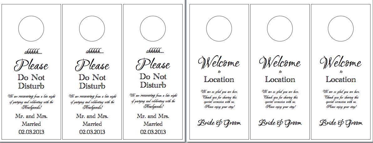 Wedding Hotel Door Hanger Template