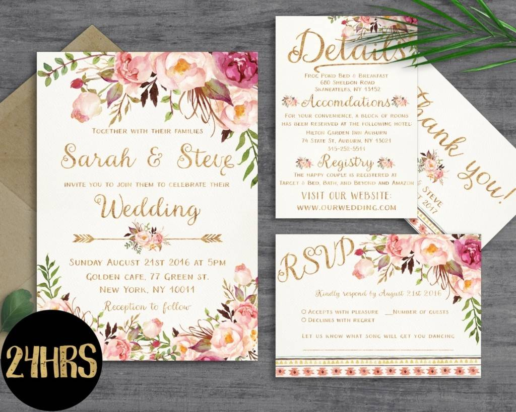 Wedding Invitations Templates Etsy