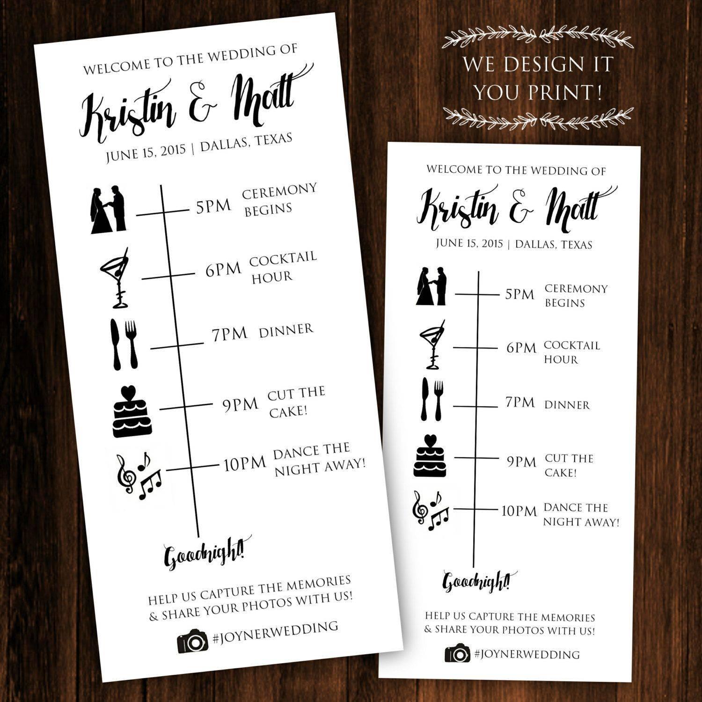 Wedding Itinerary Template Etsy