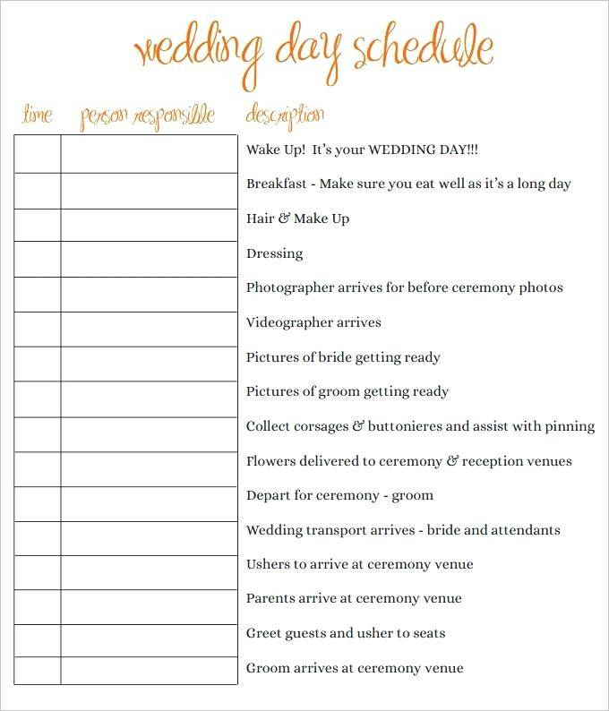 Wedding Itinerary Template For Bridal Party