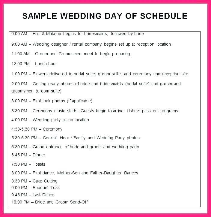 Wedding Itinerary Template Singapore