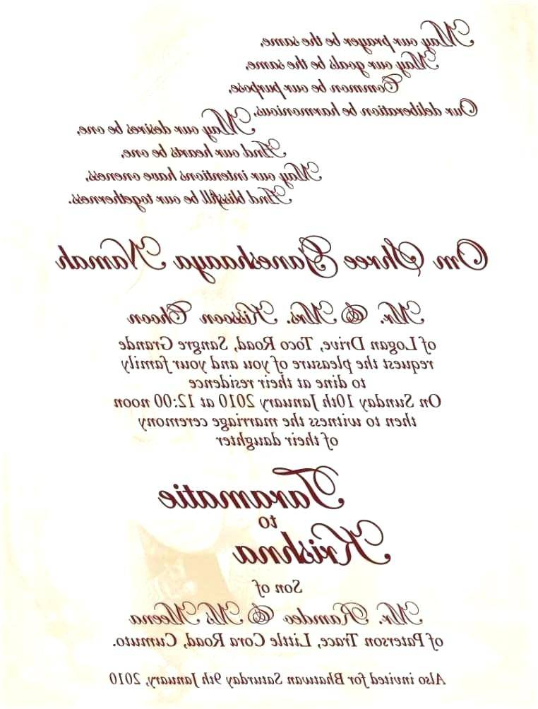 Wedding Menu Template Free Word