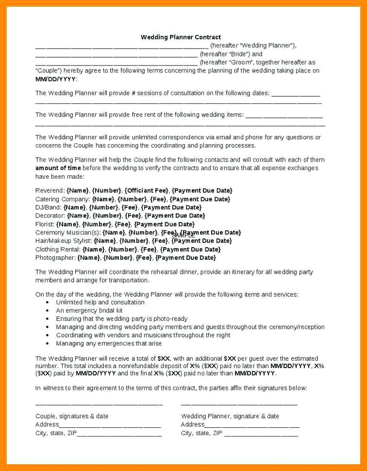 Wedding Musician Contract Template