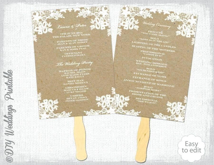Wedding Paddle Fan Program Templates Free