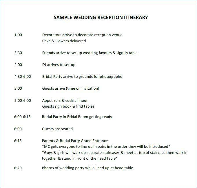 Wedding Party Agenda Template