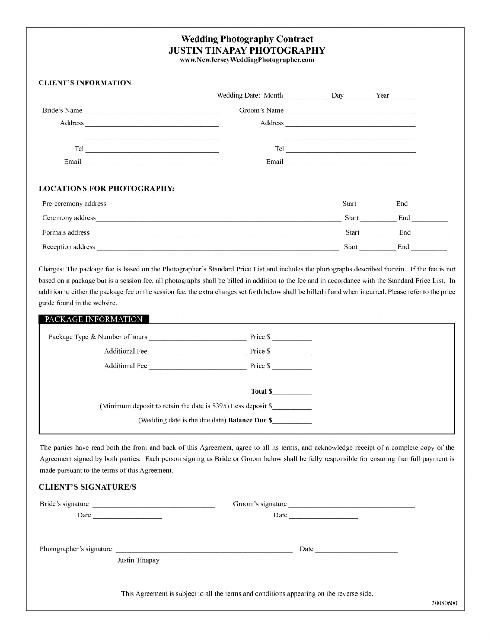 Wedding Photography Contract Template Pdf