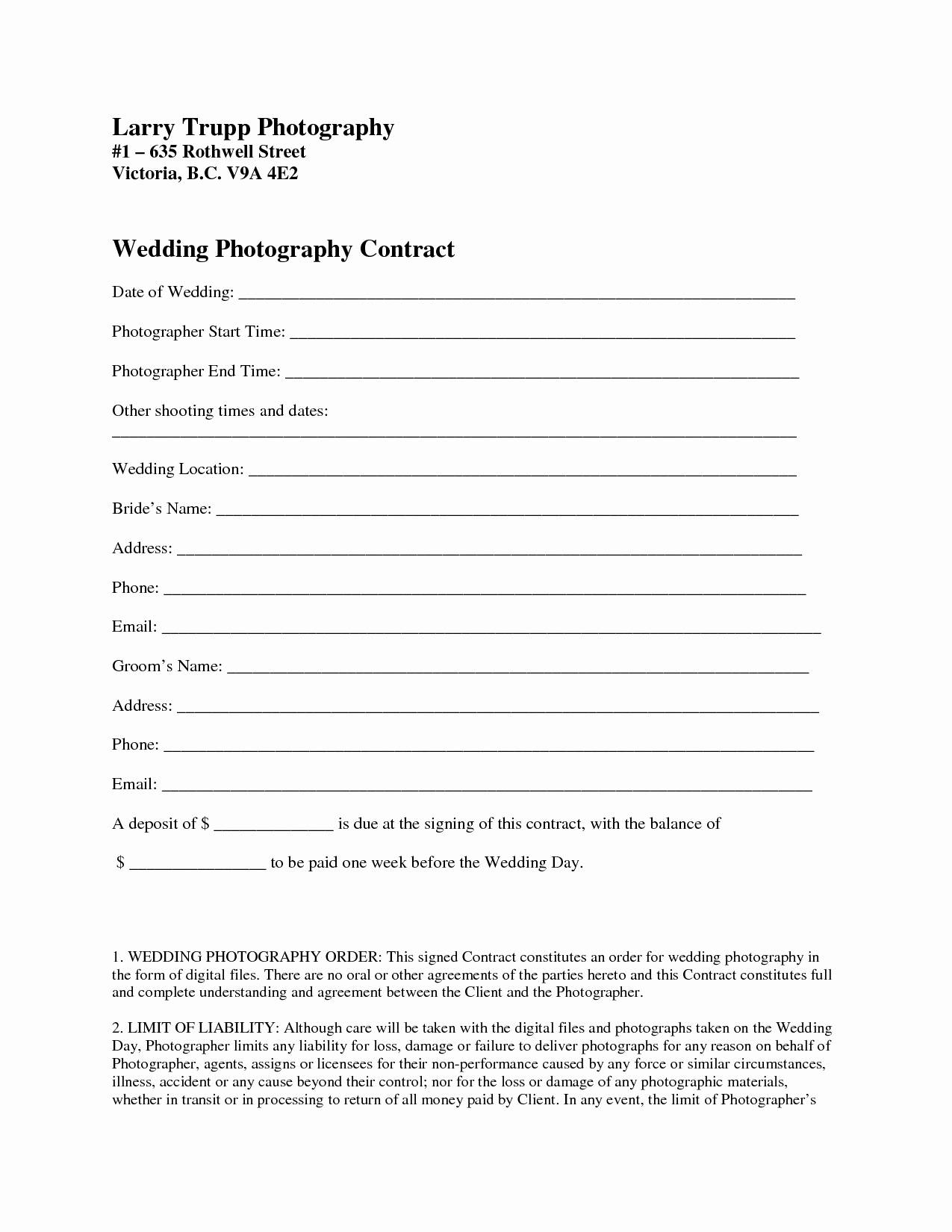 Wedding Photography Contract Template Word