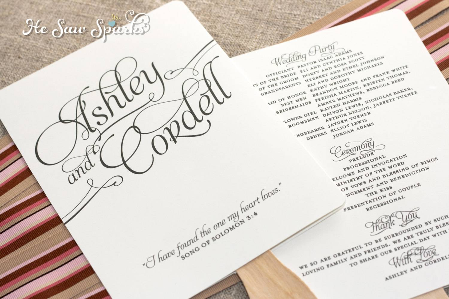 Wedding Program Fan Template Free