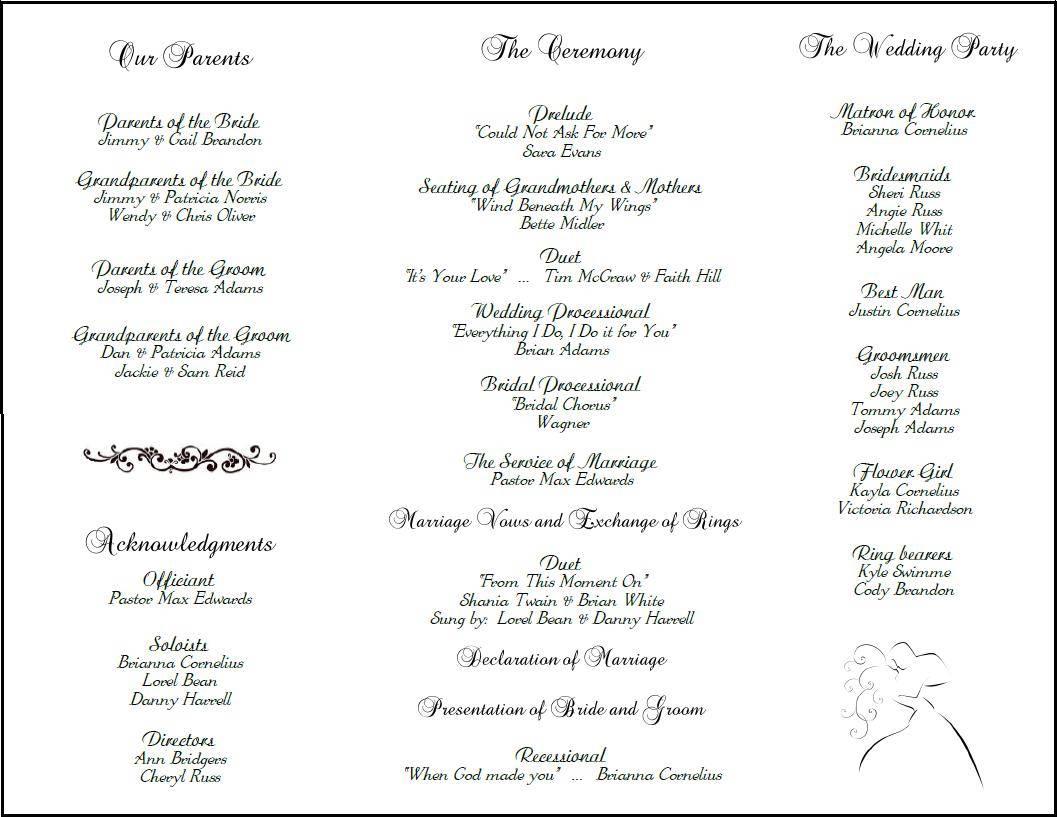 Wedding Program Sample Templates
