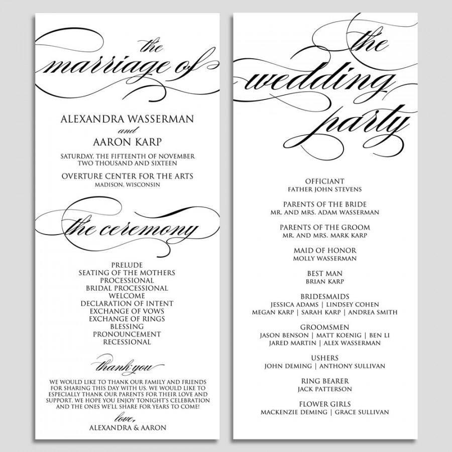 Wedding Program Template Pdf