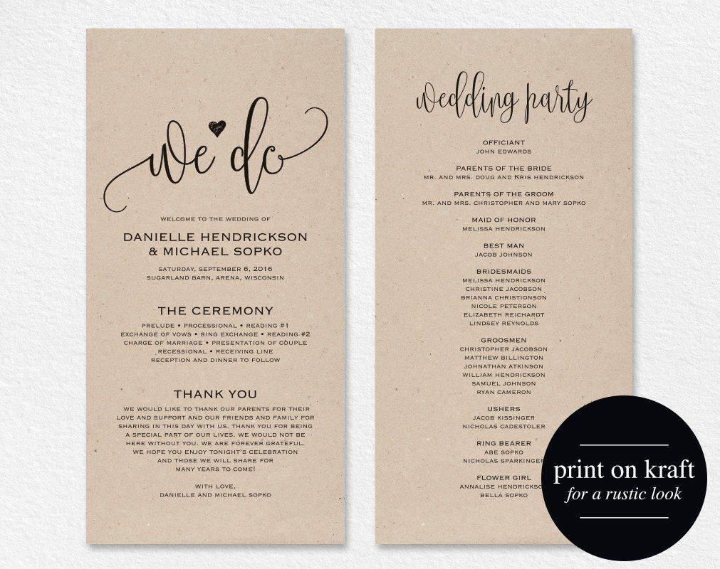 Wedding Program Templates Etsy