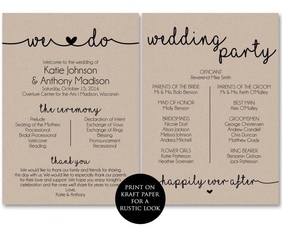 Wedding Program Templates Printable