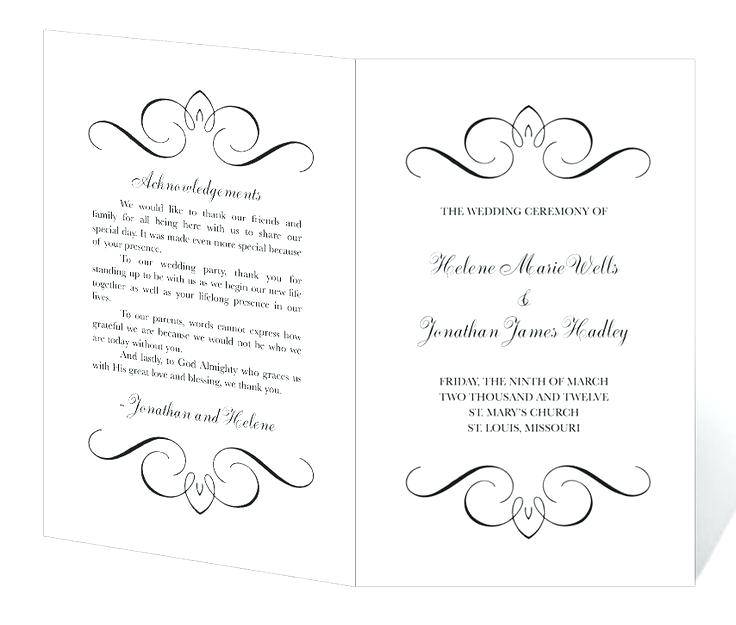 Wedding Programs Templates Free Microsoft Word