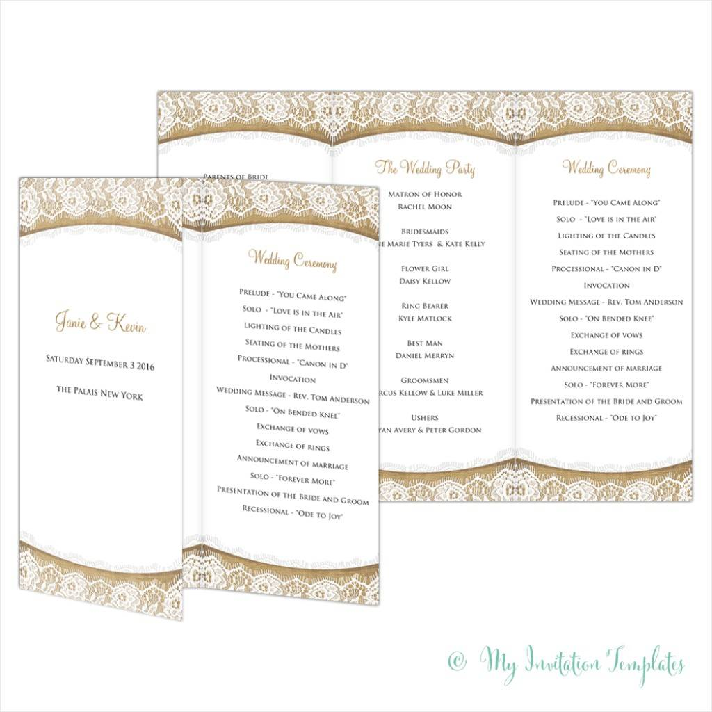 Wedding Programs Tri Fold Templates Free