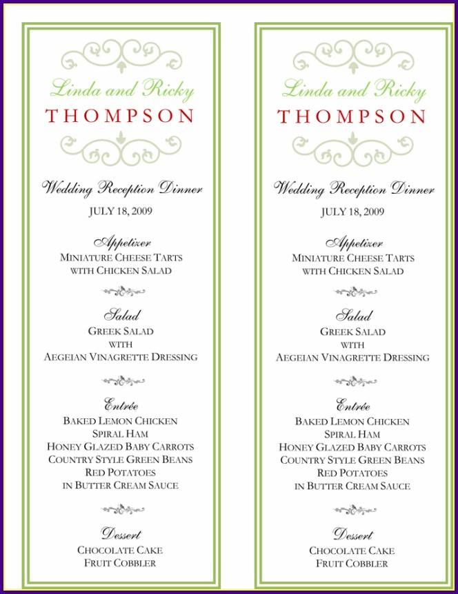Wedding Reception Menu Templates