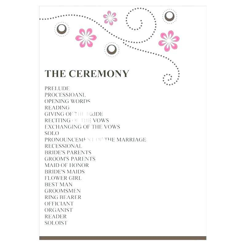 Wedding Reception Program Sample Templates