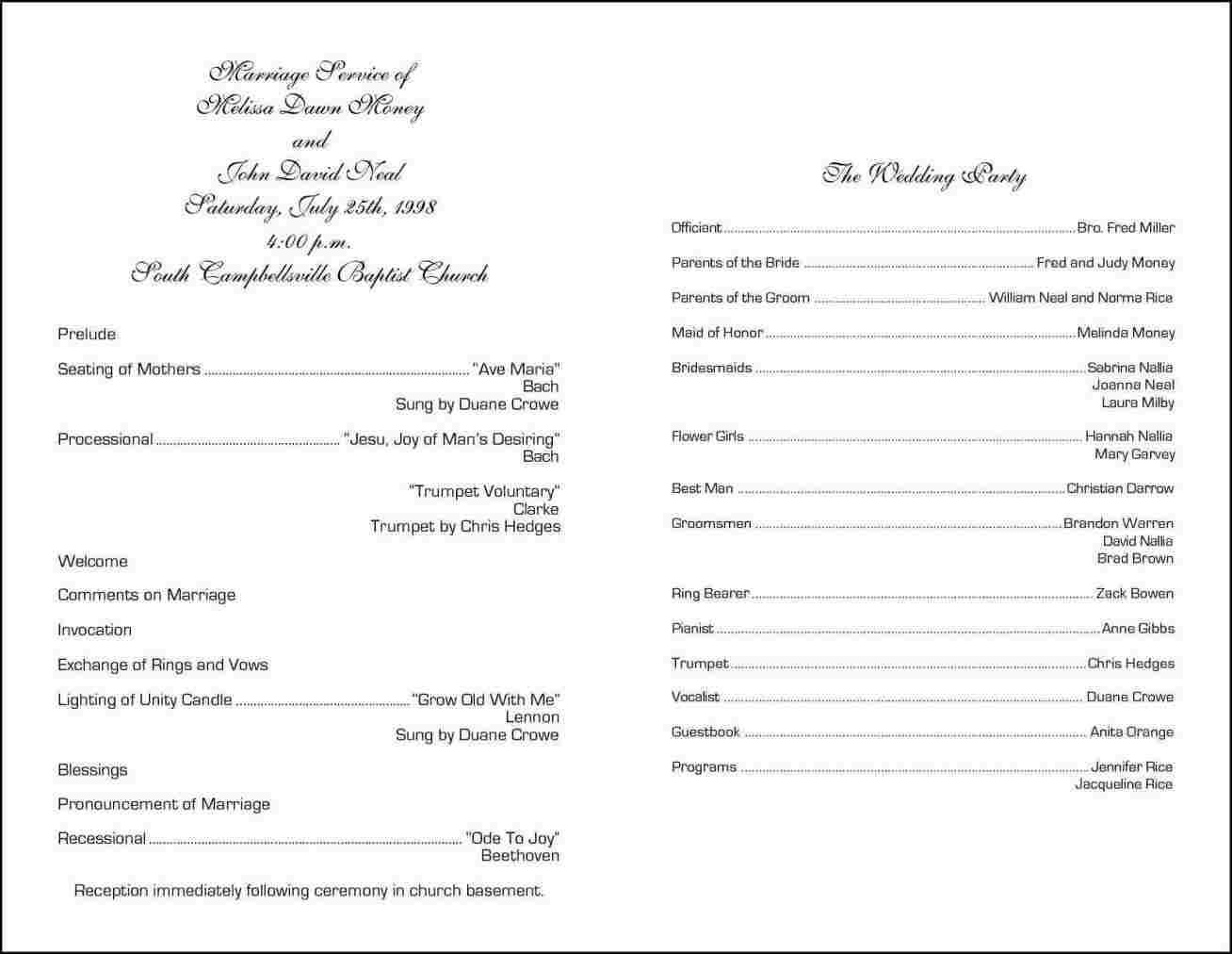 Wedding Reception Programs Templates
