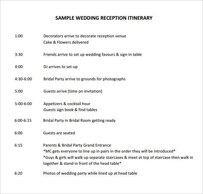 Wedding Reception Timeline Template Excel