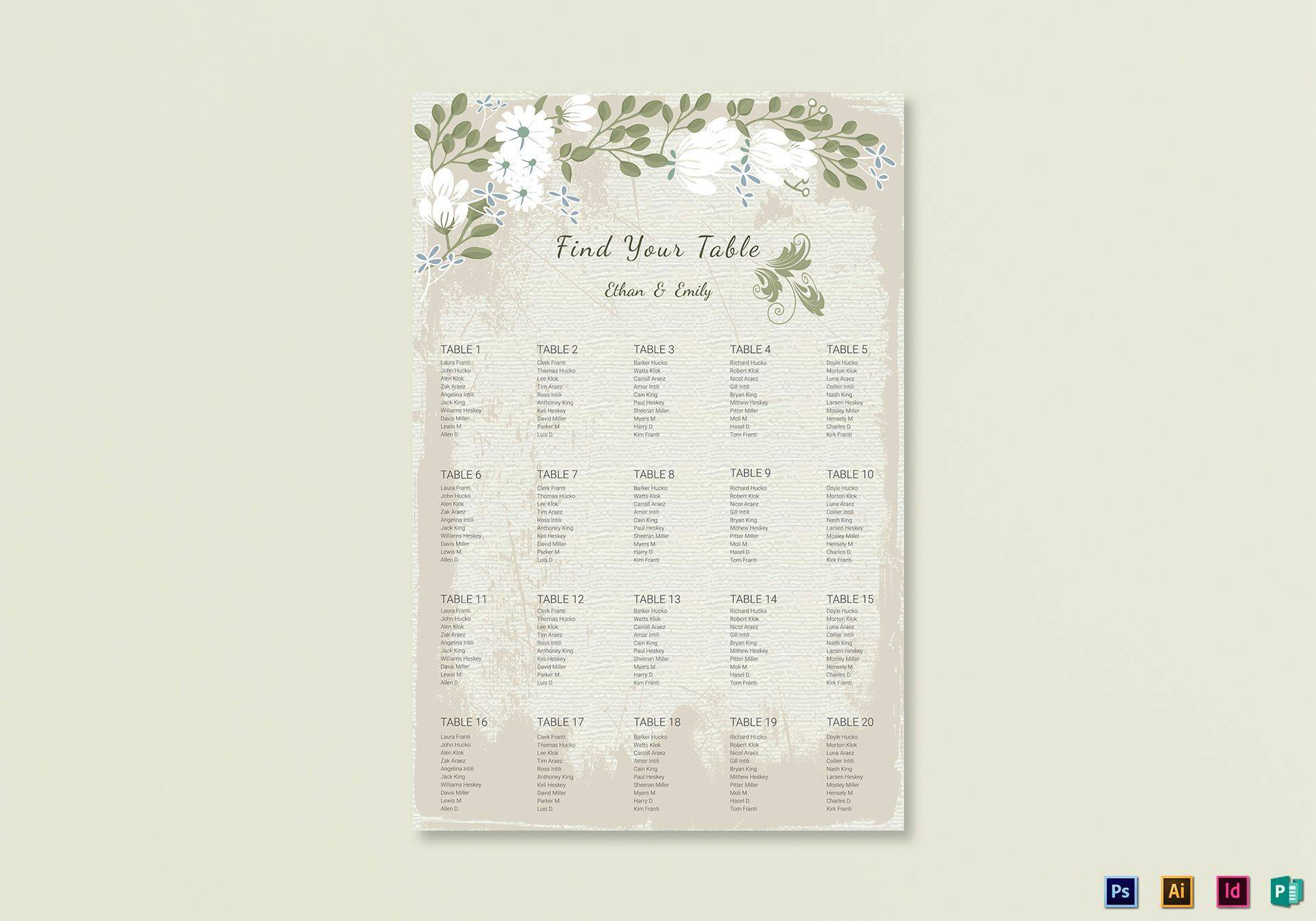 Wedding Seating Chart Template Psd